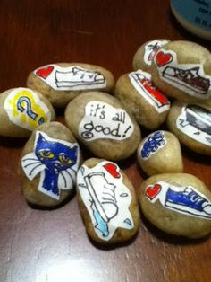 Piper Loves the Library: Pete the Cat and the Story Stones! How to do Dialogic reading with story stones. Preschool Literacy, Early Literacy, Kindergarten, Retelling Activities, Activities For Kids, Cat Activity, Story Stones, Author Studies, Library Lessons