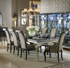 Hollywood Swank Rectangular Leg Dining Table in Black/Platinum | AICO | Home Gallery Stores