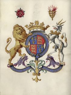 Arms of Henry V. Names and arms of the Knights of the Garter. Manuscript, 1606. Folger Shakespeare Library.