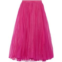 Gucci Pleated silk-blend organza midi skirt ($905) ❤ liked on Polyvore featuring skirts, bottoms, gucci, fuchsia midi skirt, organza midi skirt, pink skirt, organza skirt and elastic waist skirt