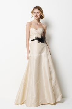 Ivory Strapless Sweetheart Floor Length A-line Bridesmaid Dress with Black Tulle Belt