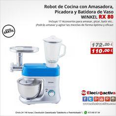 ¡Completo Robot de cocina con Amasadora, Picadora y Batidora de vaso! Robot de cocina WINKEL RX 80 http://www.electroactiva.com/winkel-rx80-robot-de-cocina-con-amasadora-picadora-y-batidora-de-vaso-color-azul.html #Elmejorprecio #Chollo #Robotdecocina #Electrodomesticos #PymesUnidas