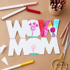 Mother's Day card idea   Darcy Miller Designs #cute #printable #color #idea #inspo #marker #fromkids #formom #cutout