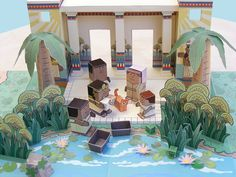 This papercraft is the Princess and the Baby Papercraft Diorama, from My Little House's Bible MiniWorld papercraft series. You may get this papercraft toy Ancient Egypt Crafts, Diorama Kids, Dinosaurs Series, Diy Nativity, Baby Moses, Paper Dolls Printable, Paper Models, Paper Toys, Egyptian