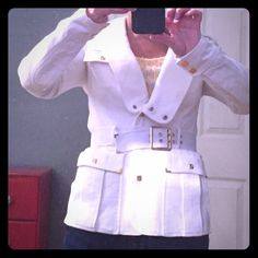 L.A.M.B. Blazer Cute white blazer with gold hard wear, 100 percent cotton. Material is densely woven and the jacket is weighted. Fitted at the waist and belted. Great condition. 29 inches long, chest 32 inches. Fits 4-6. L.A.M.B. Jackets & Coats Blazers