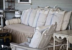 This is PERFECT for my antique porch bed!! Decorating with Antique Grain Sacks - Cedar Hill Farmhouse