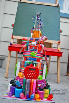 Teacher's Supplies Diaper Cake.I would love to get one of these.