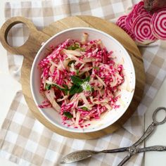 Pink Apple & Beet Slaw -- An autumnal mix of crisp apples and pink striped Chioggia beets tossed with a light vinaigrette sweetened with mint and honey.