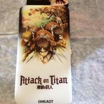 Attack on Titan wallet, perfect for anything that goes in a wallet. It even has the whole group on it.