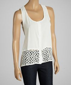 Another great find on #zulily! White Floral Lace Sleeveless Button-Up by Dani Collection #zulilyfinds