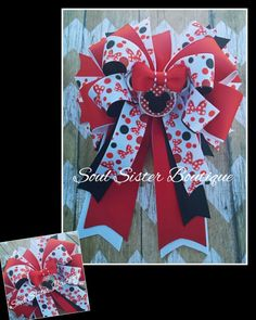 4 loop tails down hair bow with spikes only at www.facebook.com/soulsisterboutique
