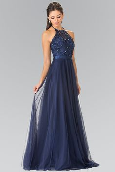 Look gorgeous in this long bridesmaid dress with sparkly, beaded bodice. Featuring flowing soft tulle skirt accented with satin belt at the waist. Pretty Prom Dresses, Navy Bridesmaid Dresses, Grad Dresses, Prom Party Dresses, Homecoming Dresses, Elegant Dresses, Beautiful Dresses, Evening Dresses, Navy Blue Evening Gown