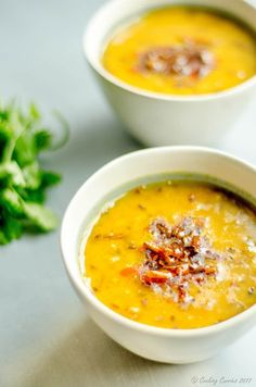Lahsooni Moong Dal - Garlicky Yellow Lentil Curry via Lentil Recipes, Curry Recipes, Soup Recipes, Vegetarian Recipes, Cooking Recipes, Healthy Recipes, Healthy Soups, Vegetarian Cooking, Vegan Meals