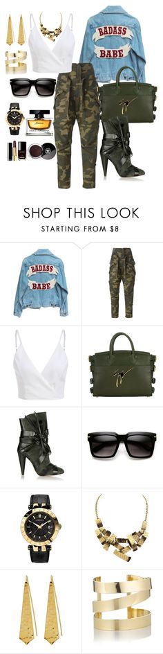 """Badass Military Babe"" by samclemenza on Polyvore featuring Faith Connexion, Giuseppe Zanotti, Isabel Marant, Versace, Panacea, Étoile Isabel Marant, Chanel and Dolce&Gabbana"