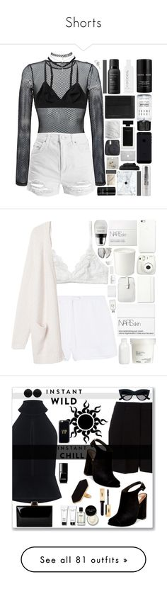"""Shorts"" by candiseotsuka ❤ liked on Polyvore featuring Faith Connexion, Topshop, Monki, Lalique, CocoOil, Bobbi Brown Cosmetics, Burberry, Living Proof, Wet Seal and Narciso Rodriguez"