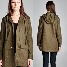 Molly Crew Jacket Semi loose fit long sleeve hooded jacket. Two large pockets. Metal detailing. 100% cotton Available in small medium and large, please contact me for your own listing! Lewboutiquetwo Jackets & Coats