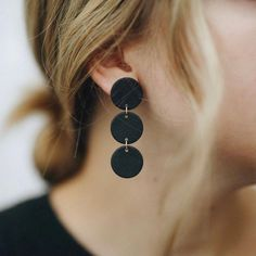 The Jacklyn in Black - - - I'm getting things ready for holiday sales! I am def planning on doing a Black Friday/Small Business Saturday… Diy Clay Earrings, Moon Earrings, Statement Earrings, Polymer Clay Crafts, Polymer Clay Jewelry, Clay Beads, Leather Earrings, Leather Jewelry, Black Jewelry