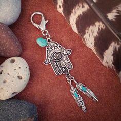 Hamsa Hand Keychain or Purse Charm! Available at BohoTribeCo.etsy.com