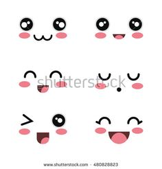 Find Set Cartoon Faces White Background Design stock images in HD and millions of other royalty-free stock photos, illustrations and vectors in the Shutterstock collection. Griffonnages Kawaii, Kawaii Faces, Cute Easy Drawings, Cute Kawaii Drawings, Cute Cartoon Characters, Cute Cartoon Faces, Doodles Kawaii, Drawing Expressions, Drawing Faces