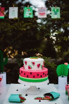 """Watermelon party cake from this Watermelon Birthday Party at Kara's Party Ideas. So much more to see at karaspartyideas.com! Just click the """"visit"""" tab to see it all!"""