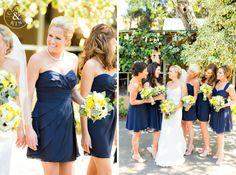The Ranch at Bandy Canyon Wedding navy bridesmaids yellow flowers