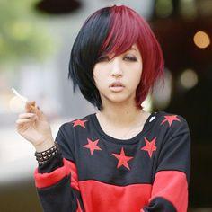 red black split wig rocker/punk look  This was literally what my hair looked like in 2006 --JRM