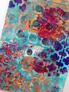 Gelli print on magazine page by Ginny Markley