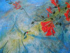 Hummingbird And Trumpet Vine Painting  - Hummingbird And Trumpet Vine Fine Art Print