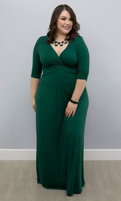 Throw on Kiyonna's plus size Desert Rain Maxi Dress for a simple, yet stylish look! Available in a gorgeous green, you'll love the soft jersey fabric lays over your curves. Shop our entire made in the USA collection at www.kiyonna.com