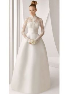 Empire High Neck Satin Long Sleeves Lace Wedding Dress