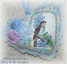 Bird Decor Hanging Heart Pillow Aqua Shabby Chic by Kittyandme, $12.95