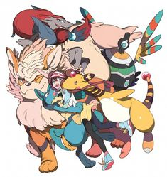 Rosa with Lucario, Arcanine, Zoroark, Sigilyph, and Ampharos