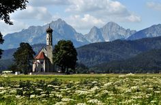 church in a field in Bavaria, Germany