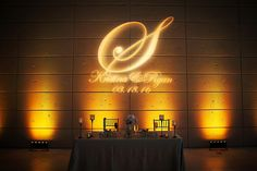 Wedding Monogram GOBO Light with Amber Uplighting| Downtown St. Pete Wedding Venue Museum of Fine Arts | St. Pete Wedding Photographer Limelight Photography