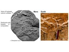 NASA - Veins in Rocks on Mars and Earth.  This set of images shows the similarity of sulfate-rich veins seen on Mars by NASA's Curiosity rover to sulfate-rich veins seen on Earth.