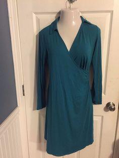 J.Jill Small Dress Stretch Material Faux Wrap Cruise Vacation  #JJill #Dress #Casual