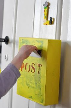 Cereal box mailbox - one on my door, one on kids door. Write letters back and forth. Kids love mail!