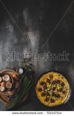 Omelette with sausage, herbs and chive inside, delish and simple