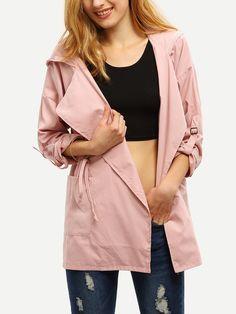 Pink Hooded Drawstring Pockets Coat