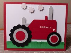 Punch Art Farmall Tractor Stampin' Up! Punch Art Cards, Paper Punch, Boy Cards, Kids Cards, Birthday Cards For Boys, Hand Stamped Cards, Craft Punches, Scrapbook Cards, Scrapbooking