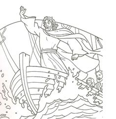 Jesus calms the storm | Bible coloring pages