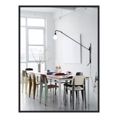 urbnite — Potence Lamp by Jean Prouve Standard Chair by. Dining Room Inspiration, Interior Design Inspiration, Design Ideas, Design Trends, Home Interior, Interior Architecture, Chair Design, Furniture Design, Furniture Chairs