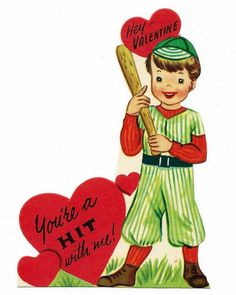 https://flic.kr/p/oDYnpv | Vintage Valentine Day Card - Hey Valentine, You're A Hit With Me!