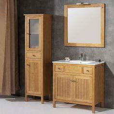 Mueble de baño rústico BURGOS con patas 80 cm cera con LAVABO 9547 Decor, Bathroom Vanity, Vanity, Deco, Bathroom