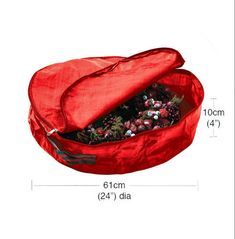 Red Storage &carrying Bag Large Christmas Wreath Waterproof Bag With Handle Zip Large Christmas Wreath, Christmas Tree Storage Bag, Easy Christmas Decorations, Large Bags, Bag Storage, Cleaning Wipes, Bean Bag Chair, Red, Handle