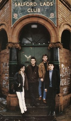 The Smiths outside Salford Lads Club, Ordsall, 1985. By Stephen Wright.