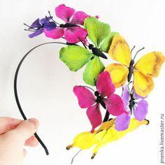 Купить Ободок с бабочками - комбинированный, бабочки, бабочки для детей, ободок для волос, ободок для девочки