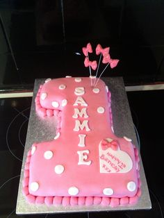 Lactose free number 1 cake pink bow glitter
