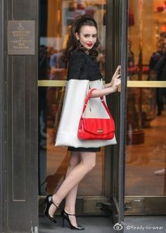 Lily Collins_Girl Crush! Love this Mod look on her. The pop of red is to die for!