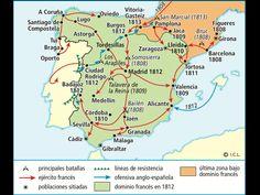 El mapa representa el desarrollo de la Guerra de Independencia, 1808-1814, al finalizar el reinado de Carlos IV. Fue un proceso complejo, internacional y acompañado de una crisis política.  Aparecen reflejados las distintas etapas, 1808: El ejército francés fue incapaz de dominar la Península, 1808-1812: Se impuso la hegemonía militar francesa (aunque pervivieron focos de resistencia), 1812-1814: Una gran ofensiva de los aliados que culminó la derrota y la expulsión de las tropas francesas.